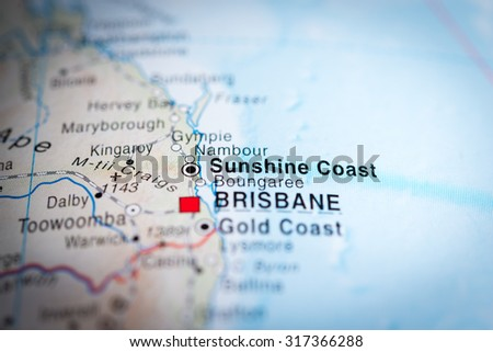 Map view of Sunshine Coast, Australia. (vignette) #317366288