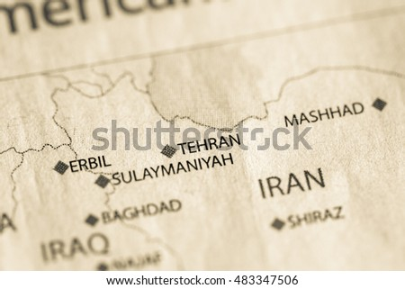 Tehran Middle East Map.Map View Of Tehran Iran On A Geographical Map Of Middle East Ez