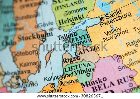 Map view of the Baltic states on a geographical map. | EZ Canvas