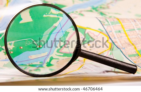 Map view through magnifying glass
