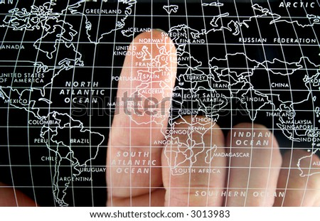 Map with Finger on the Uk