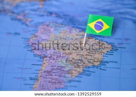 Map with flag of Brazil #1392529559