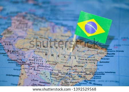 Map with flag of Brazil #1392529568