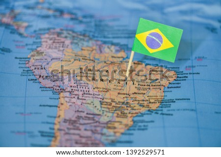 Map with flag of Brazil #1392529571