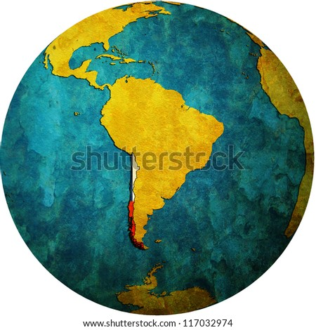 map with flag of chile on isolated over white map of globe