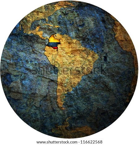 map with flag of colombia on isolated over white map of globe