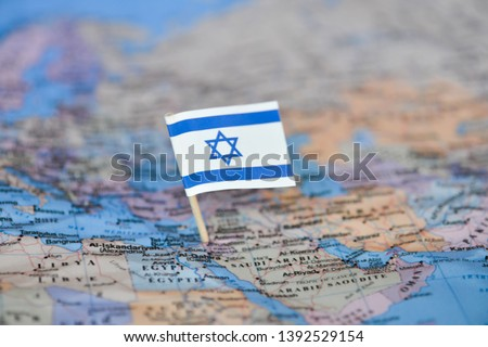 Map with flag of Israel Stockfoto ©