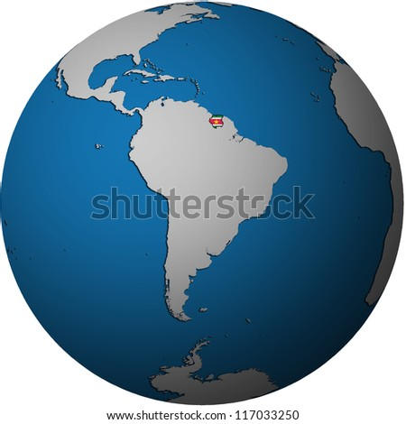 map with flag of suriname on isolated over white map of globe