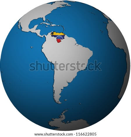 map with flag of venezuela on isolated over white map of globe