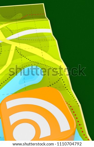 Map with RSS icon on green background. 3d illustration