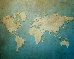 Map world on paper background Style Grunge