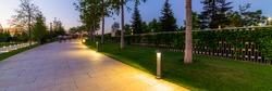 Maple alley in French garden in public landscape city park Krasnodar or Galitsky park . Wooden circular brown benches around maple trees