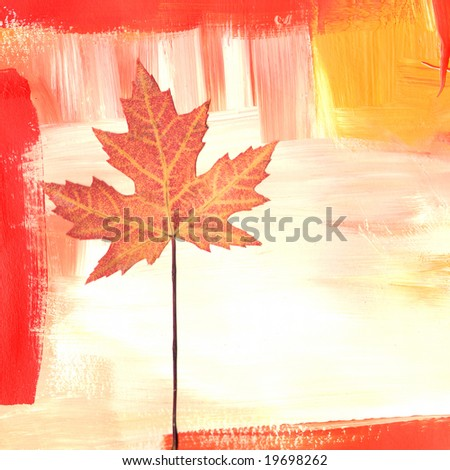 maple leaf on hand painted background, artwork is created and painted by myself