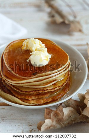Maple syrup pancakes with orange butter
