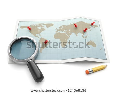 Maps and navigational charts. Map and magnifying glass search for the place