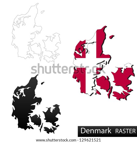 Maps of Denmark, 3 dimensional with flag clipped inside borders,and shadow, and black and white contours of country shape, raster copy - stock photo