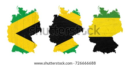 Maps of Germany in textured wooden plates painted with the colors of Jamaica (black, green and yellow), illustrative of the so-called Jamaica coalition and the symbolic colors of the political parties #726666688