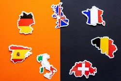 Maps of Great Britain, France, Germany, Italy, Spain, Belgium, Switzerland with flags on double black and orange background. Stop coronavirus in Europe. Covid-19 outbreak, pandemic concept