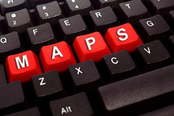 maps red button word on black keyboard