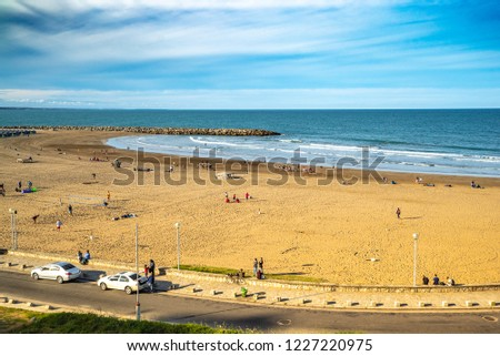 Mar Del Plata, Argentina - 26 Octubre, 2018: City beach is ready to meet tourists