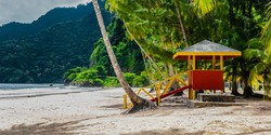 Maracas beach trinidad and tobago lifeguard cabin side view empty beach
