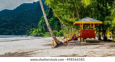Maracas beach trinidad and tobago lifeguard cabin side view empty beach  Stock photo ©