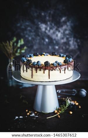 Maracuja cake with chocolate and cutting piece