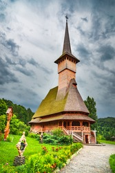 Maramures, Romania - Wooden church of Barsana monastery, traditional wooden architecture in Transylvania.