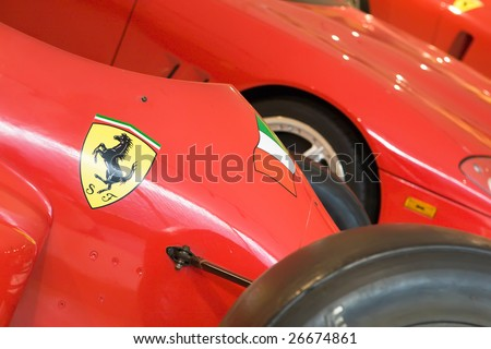 ferrari formula 1 logo. stock photo : MARANELLO, ITALY - 9 JULY : Logo of Ferrari (Prancing horse