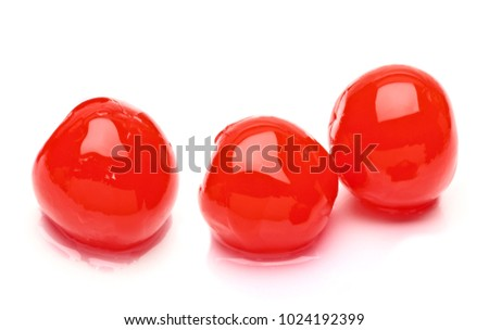 Maraschino cherries or candy cherry isolated on white background