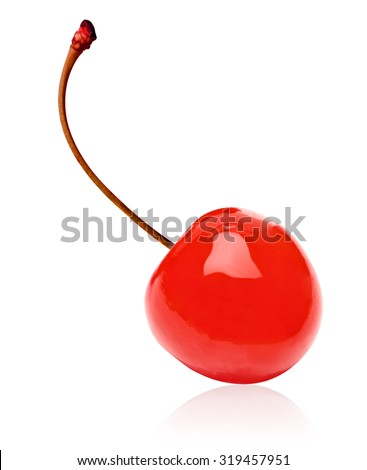 Maraschino cherry on white background