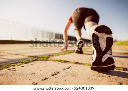 Marathon run shoe. Outdoor workout. Sport athlete, runner training. Athletic fitness exercise. Young yogger leg, fit. Healthy lifestyle. Active people wellbeing.  #524801839