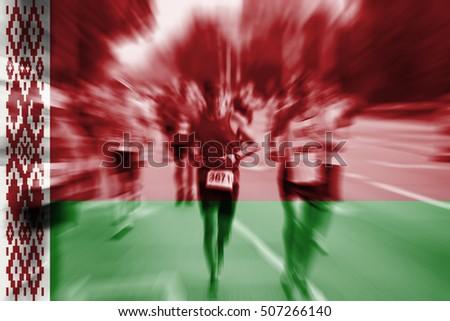 Marathon runner motion blur with blending  Belarus flag