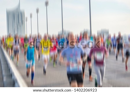 marathon runners in the city . city runners  #1402206923