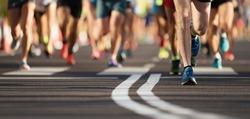 Marathon running race, large group of runners