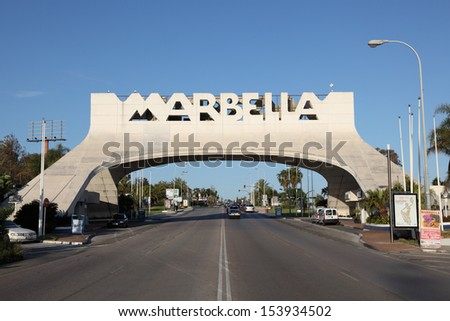 MARBELLA - MAY 21: Marbella Arch at the Costa del Sol on 5th of May 2012 in Marbella, Andalusia Spain. The arch marks the entrance to Marbella city and is an icon of the town.