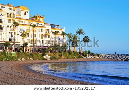 MARBELLA, SPAIN - MARCH 13: Puerto Banus on March 13, 2012 in Marbella, Spain. Puerto Banus is visited annually by nearly 5 million people and its marina has berths for 915 boats
