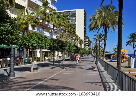 MARBELLA, SPAIN - MARCH 13: Seafront at Venus Beach on March 13, 2012 in Marbella, Spain. Marbella, with 27 km of coastline, has a Seafront about 7 km length