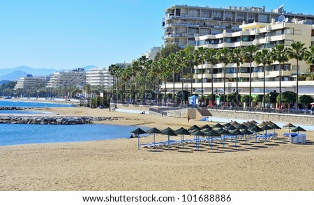 MARBELLA, SPAIN - MARCH 13: view of Venus Beach on March 13, 2012 in Marbella, Spain. This beach is 400 meters long and 50 meters wide and has disabled access