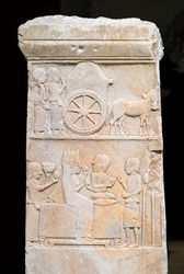 Marble Anatolian Persian Funerary Stele from Dascyleium. 5th century B.C. Istanbul Archaeology Museum, Turkey.