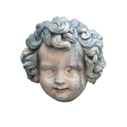 marble antique curly head of boy of old marble statuary isolated on white background