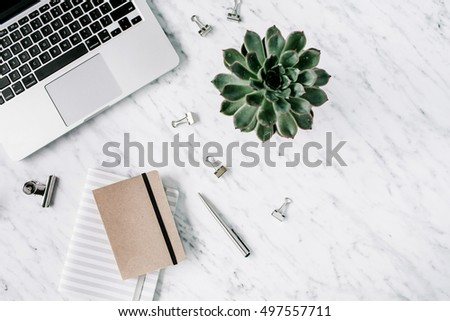 Marble background workspace. Flat lay, top view office table