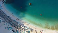 Marble Beach (Saliara Beach) in Thassos island in Greece - Aerial View