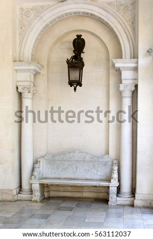 marble bench in palace. crimea