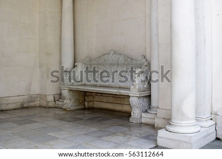 marble bench in the old castle  ...