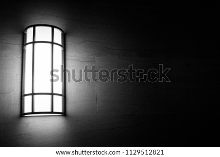 Marble brick wall with modern light #1129512821