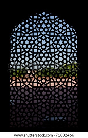 Marble carved screen window at Humayun's Tomb, Delhi, India