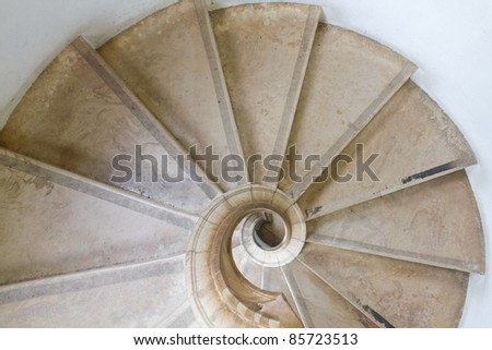 marble carved stone spiral staircase of Sintra national palace