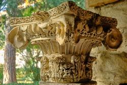 Marble chapiter at Roman ruins of Salona at Solin