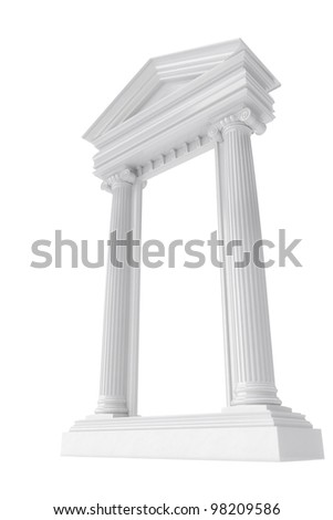 marble colonnade on white isolated background